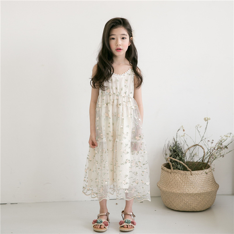 floral embroidery elegant dress for girl party sleeveless maxi long princess lace fashion dress girl white summer with mesh hearted shape back summer new princess girl s lace christening white big bowknot mesh sleeveless show performance formal dress