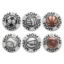 10pcs/lot Snap Jewelry Crystal Rhinestone Sport Basketball Baseball Volleyball 18MM Snap Buttons Fit Snap Bracelet ZA149