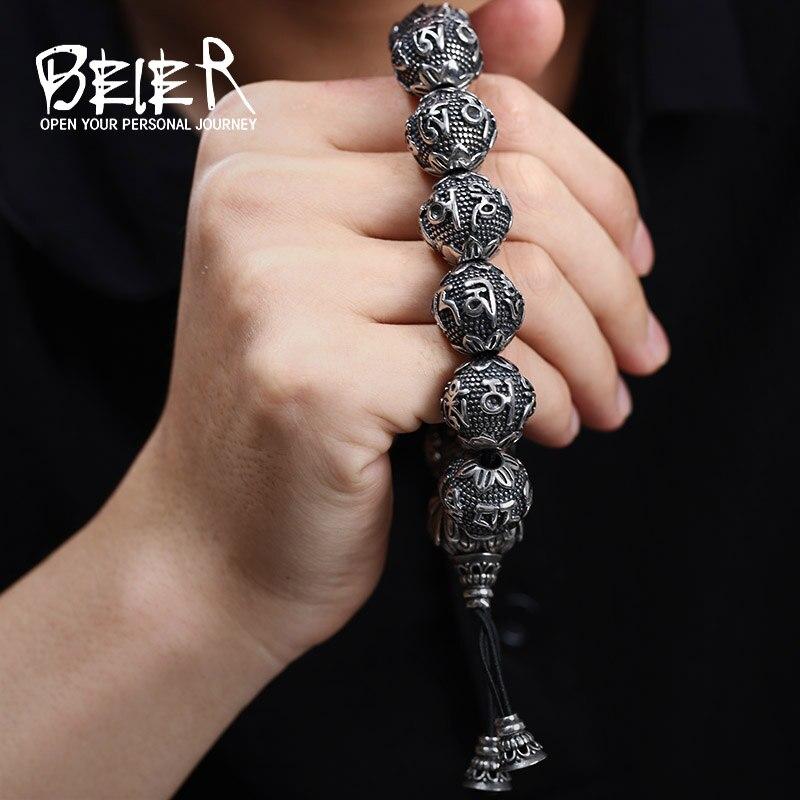 באייר המלוטש גבוה של הגברים האופנה נירוסטה תכשיטי צמיד להביא מזל מנטרה בודהיזם BC8-029