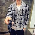 Sweater cardigan New MENS youth spring large lattice V collar  thickening plaid pattern single breasted sweater