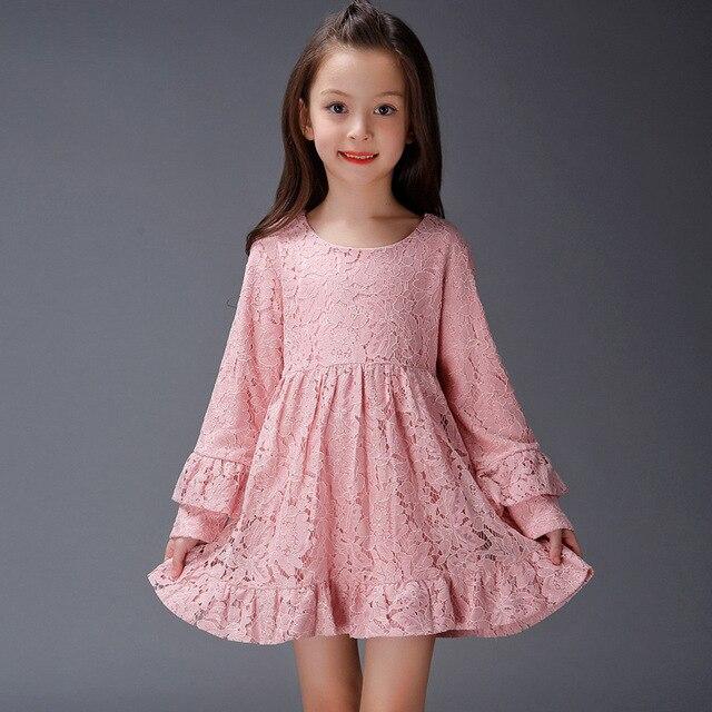 53304ab995d6 Bambini Abiti di Pizzo per Le Ragazze Manica Lunga Abiti Da Cerimonia Per  Bambini Vestiti di