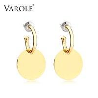 VAROLE Trendy Çember Küpe Gül Altın Rengi Küpe Paslanmaz Çelik Saplama Küpe Kadın Moda Takı Için Oorbellen Brincos