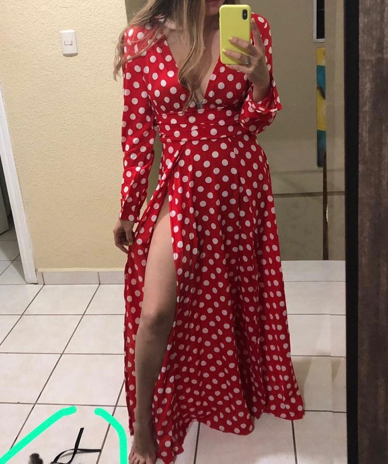 Bohemian Polka Dots Split Sexy Maxi Dress Red Women High Waist Pleated Female Fashion Skinny Big Swing Vintage Boho Long Dresses in Dresses from Women 39 s Clothing