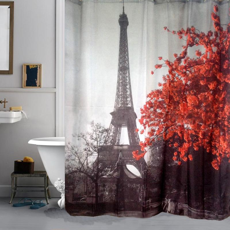 000 Paris Eiffel Tower Red Flower Polyester Waterproof Shower Curtain  Bathroom Bath Decoration With 12 Hooks 180x180cm