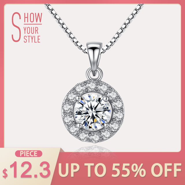 CZCITY Round Pendant Necklace Office Lady Genuine 925 Sterling Silver Chain Neck