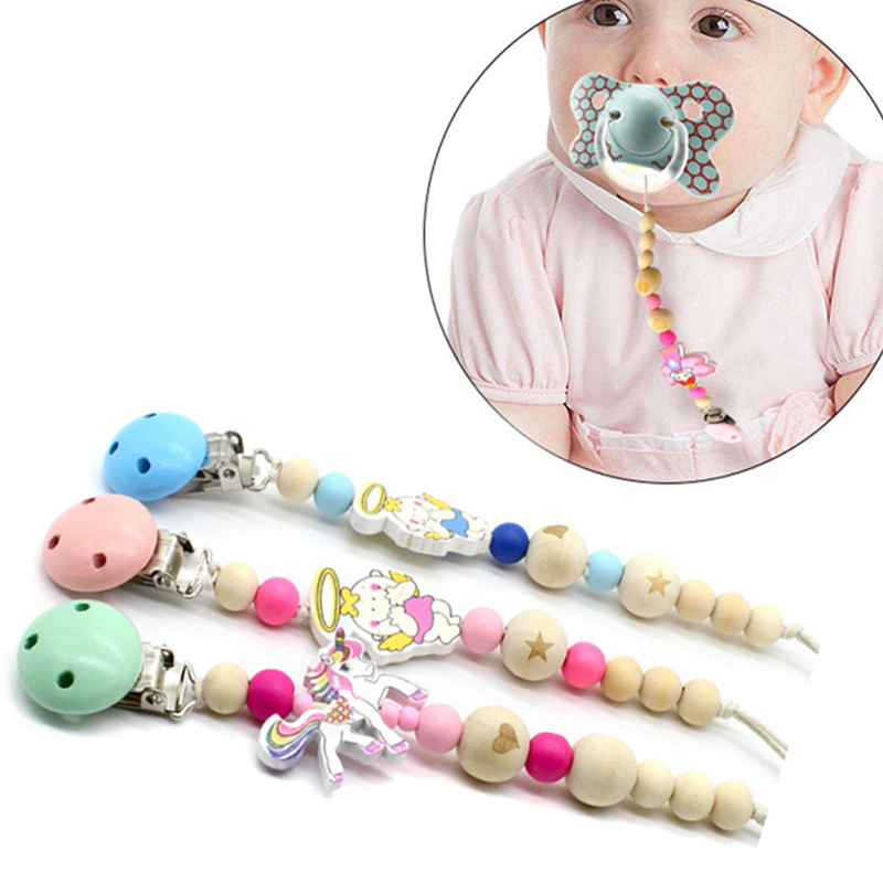 Cute Baby Animal Teething Dummy Pacifier Clip Bead Infant Soother Nipple Strap Chain Gift