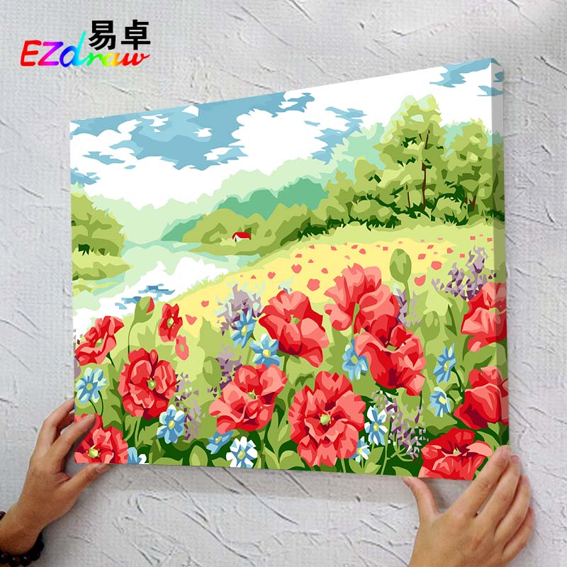 Flower <font><b>sea</b></font> picture Paintings Paint By Number acrylic painting Oil Paintings For Living Room decor MS8925 <font><b>poppy</b></font> garden