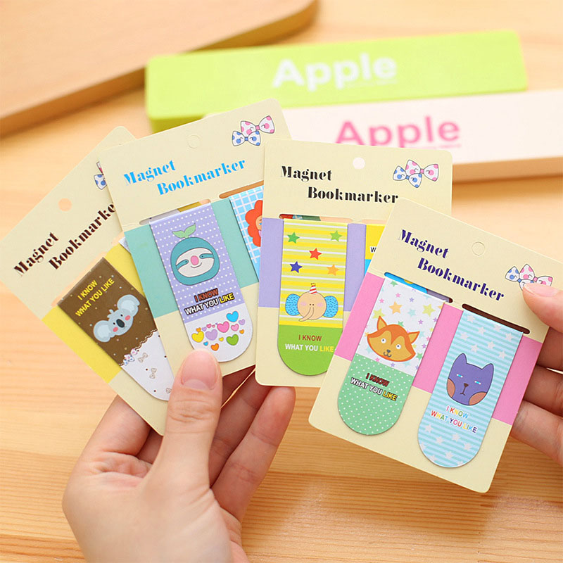 Student 2 Pcs/lot DIY Cute Kawaii Rabbit Cat Book Mark Cartoon Fox Magnetic Bookmarks For Books Korean Stationery 3082