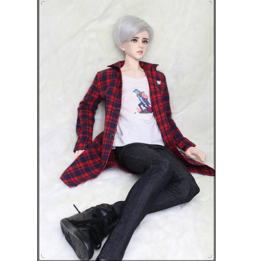 1/3 BJD Red Plaid Overcoat White Long Sleeve Tshirt Black Denim Jeans Set Outfit Clothes for Normal 70cm Uncle Size Doll cool multi way zipper oblique buckle motorcycle leather jacket for bjd doll 1 3 sd17 uncle ssdf spirit ver 2 doll clothes cm3