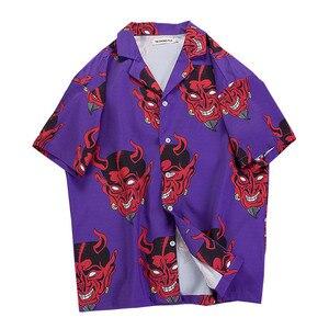 Image 2 - היפ הופ streetwear חולצות גברים שטן מלא הדפסה קצר שרוול קיץ פרחוני ראפר harajuku loose הוואי קוריאני חולצות camisa