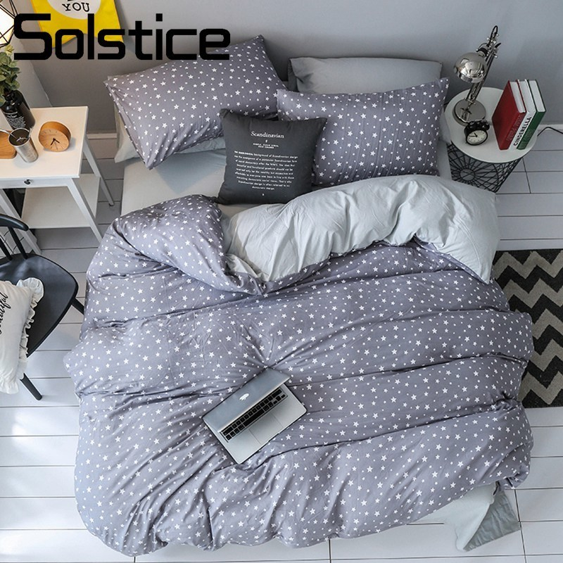 Solstice Home Textile Gray Star Bedding Set Kid Teen Linen King Queen Soft Duvet Cover Pillowcase Bed Sheet Boy Girls Bedclothes