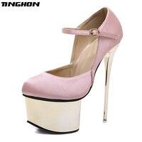TINGHON Fashion Women Pumps Buckle Strap Sexy 16 cm High heel Temperament High heeled shoes Round Toe Wedding Pumps