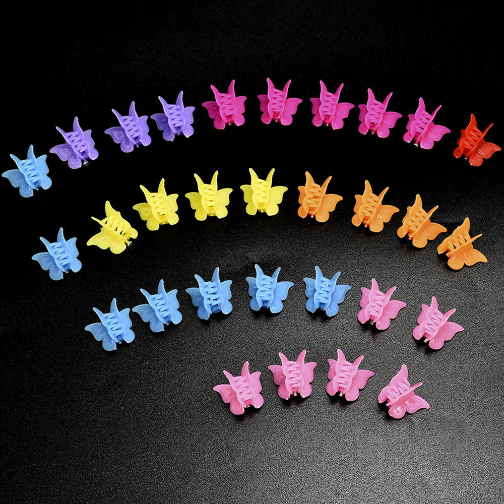 6/20/50/100 Pcs Butterfly Hair Clips Claw Barrettes Mixed Color Mini Jaw Clip Hairpin Hair Accessories For Women Girls