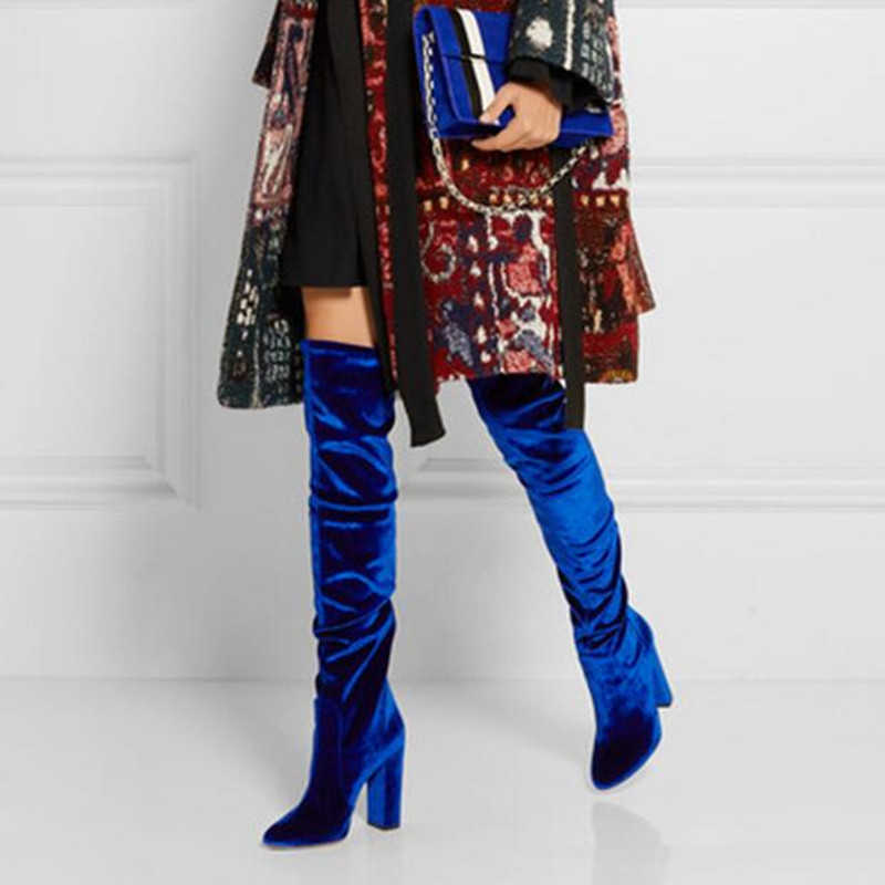 Choudory 2017 Winter New Over The Knee Boots For Women Stretch Fabric Thigh High Boots Velvet High Heels Runway Long Shoes ppnu woman winter nubuck genuine leather over the knee snow boots women fashion womens suede thigh high boots ladies shoes flats
