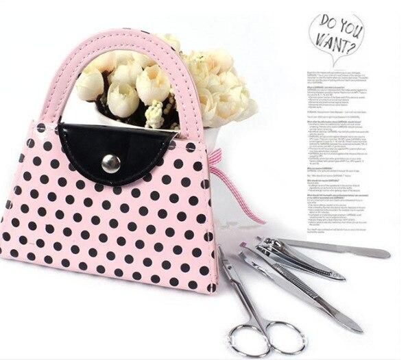 Favor de la boda Pink Polka Dot Purse Set de manicura nupcial regalos - Para fiestas y celebraciones