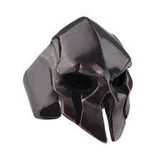 Punk Gothic Biker Skull Ring Spartan Hero Mask Helmet Nordic Pagan Viking Rings For Men Vintage Jewelry