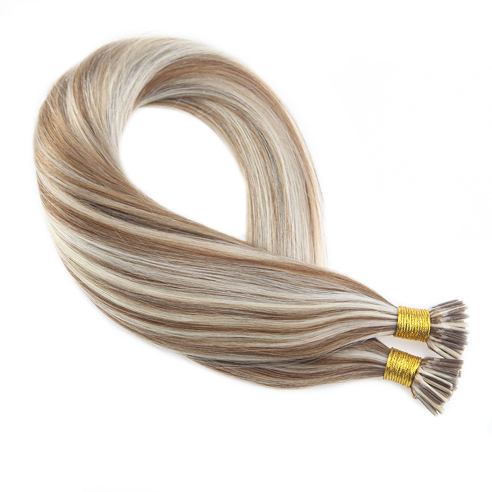 Moresoo Machine Remy Human Hair I Tip Extensions Medium Brown Highlights With Platinum Blonde #P6/60 Hair Extensions 50g 1g/1s