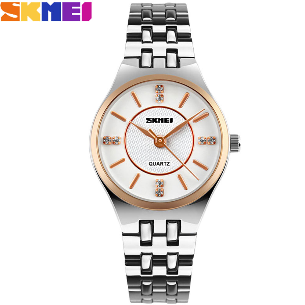2017 SKMEI china brand watches women luxury quartz watch 30m waterproof white dials beautiful rhinestone stainless