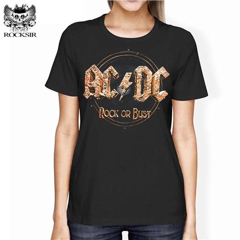Rocksir AC DC Rock Or Bust Print Women T-shirt Rock Harajuku Letters Short Sleeve Tee Shirt Punk Casual Hipster Femme Brand Tops