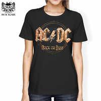 Rocksir AC DC Rock ou buste imprimer femmes T-shirt Rock Harajuku lettres à manches courtes T-shirt Punk décontracté Hipster Femme marque hauts