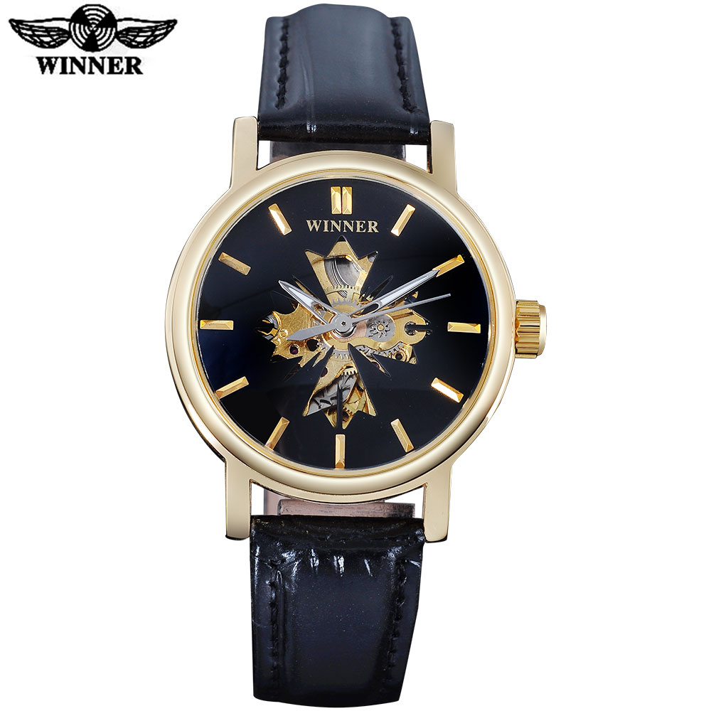 2016 WINNER Famous Brand Women Watches  Fashion Automatic Self Wind Watch Skeleton Dial Transparent Glass Gold Case Leather Band