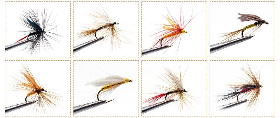 225 pçs molhado seco mosca pesca moscas