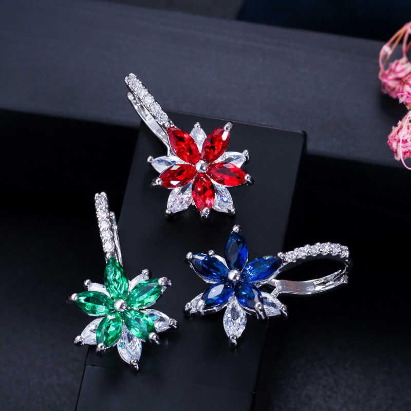 ANGELCZ biżuteria koreańska royal Blue Cubic cyrkon kryształ mały kwiat śliczne stadniny kolczyki dla kobiet Party akcesoria AE246