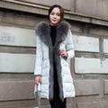 Luxury Large Raccoon Fur Down Jacket Women Winter Coat Hooded Long Overcoat Thick Parka abrigos mujer  2016 Female Coats LX170