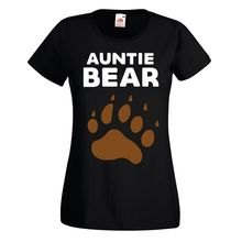 Ladies Auntie Bear T Shirt Womens New Aunt Niece Nephew Sister Birthday Gift Top Cool Casual