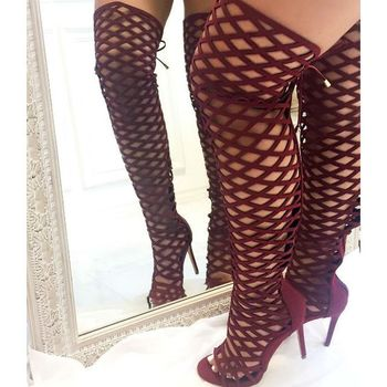 hot selling cutouts woman boots summer open toe over the knee high heel boots 2017 sexy back lace-up thigh high boots
