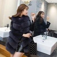 women fox fur vest long real fur 2018 genuine fox fur vest gilet middle long fashion wholesale china factory femme winter coats