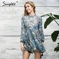 Simplee Boho цветочный печати кисточкой женщины dress Осень зима с длинным рукавом рябить шифона dress Vintage свободные короткие dress vestidos