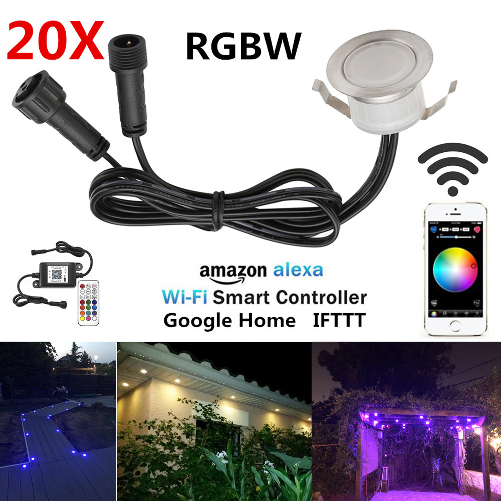 Dedicated 20pcs/lot Rgbw Smart Wifi Phone App Control 31mm 12v Ip67 Terrace Stair Step Led Deck Rail Lights For Alexa Google Home Ifttt To Enjoy High Reputation At Home And Abroad Lights & Lighting Led Lamps