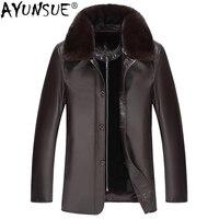 AYUNSUE Winter Genuine Sheepskin Leather Jacket Men Mink Coat Warm Leather Jackets Real Mink Fur Coat Blouson Cuir Homme KJ1350