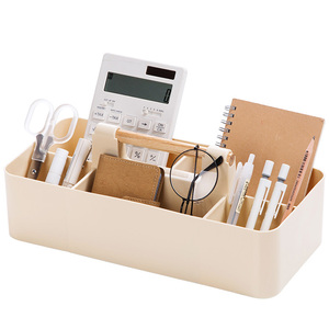 Image 5 - Ahşap saplı saklama kutusu sıralama kozmetik saklama kutusu ofis masası kırtasiye plastik bitirme kutusu kalem tutucu ofis malzemeleri