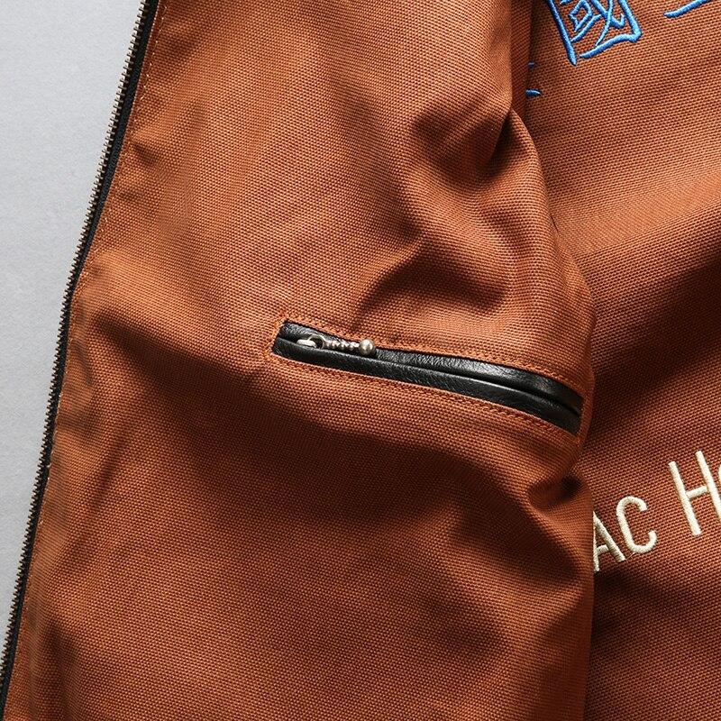 Facotry 2018 nueva chaqueta de piloto A2 negra/marrón para hombres chaquetas ajustadas casuales de piel de vaca genuina Rusia abrigos de invierno S 4XL - 4