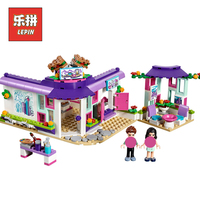 Lepin Friends 01060 Heartlake the Art Cafe House Set Compatible legoing friends 41336 Model Building Blocks Bricks Girl Toy Gift