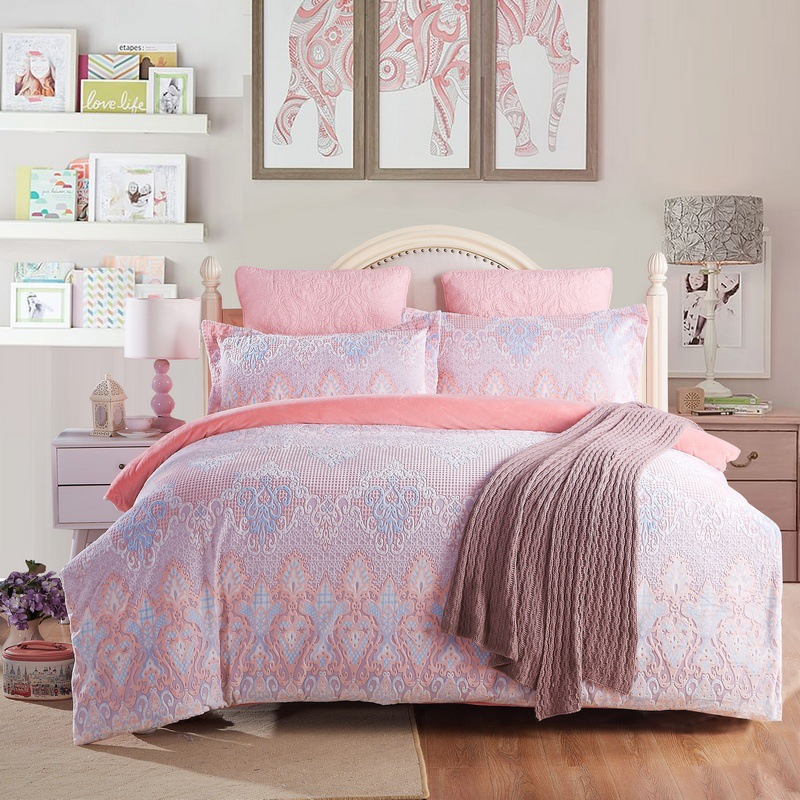 2018 3D impresso conjunto de cama de Flanela de Alta qualidade e simples e Coral fleece capa de edredão roupa de cama conjuntos - 5
