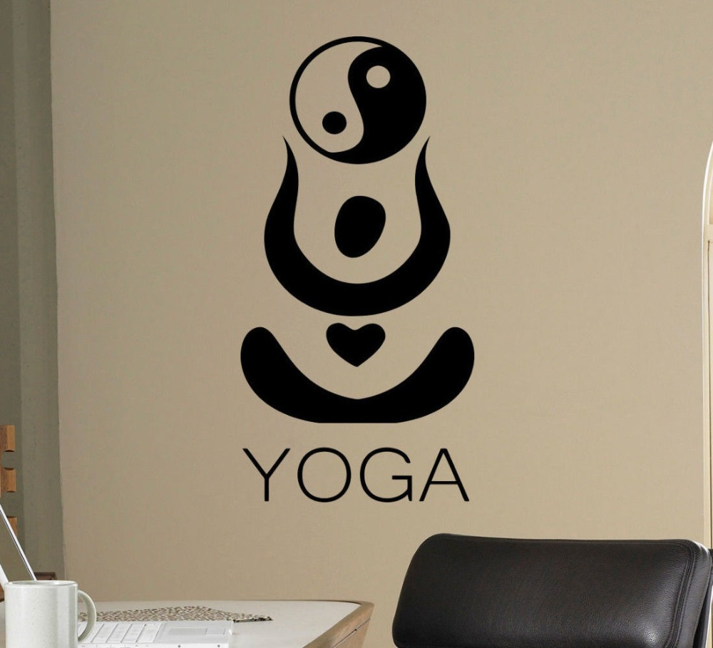 wall decor sticker promotion shop for promotional wall decor hindu yoga wall stickers vinyl removable ying yang pattern wall decal yoga studio art mural special design home decor stickersy9