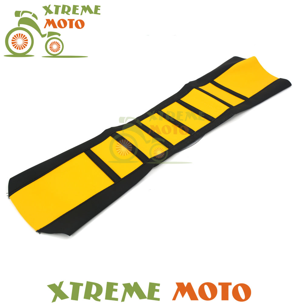 Yellow Rubber Vinyl Gripper Soft Seat Cover For Suzuki RM RMZ RM125 RM250 RMZ250 RMZ450 Motocross Enduro Supermoto Motorcycle red gripper soft seat cover for suzuki rm125 rm250 rm 125 250 01 08 motorcycle motocross supermoto dirt bike off road enduro