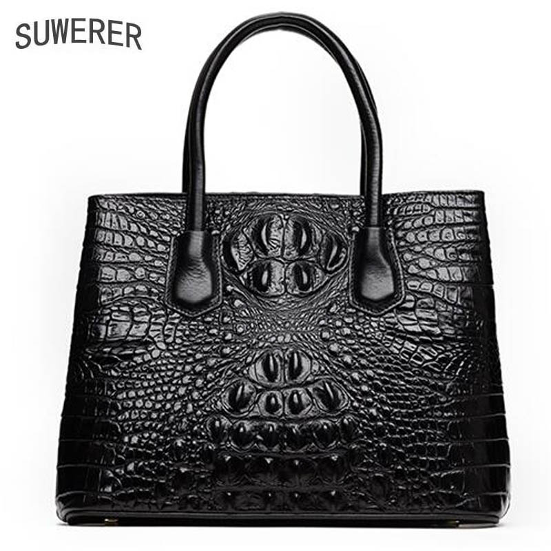 SUWERER New Women Genuine Leather bags women handbags fashion luxury Superior Cowhide Crocodile pattern tote women leather bag suwerer superior cowhide women genuine leather bags luxury women bag handbags fashion crocodile designer women leather bag