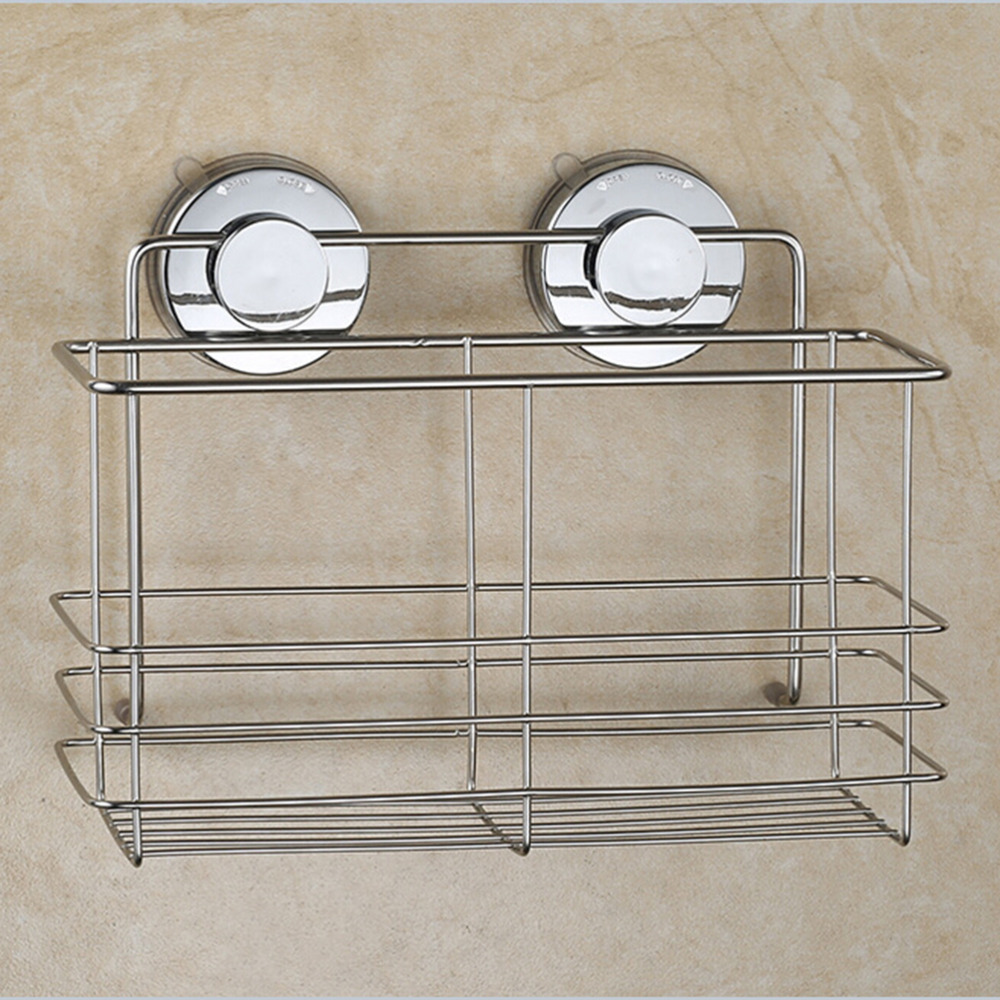 Strong Suction Shower Basket Dual Sucker Bathroom Shelf Washing Room ...