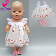 baby Doll flower white lace princess skirt Fit 43cm baby Dolls Clothes 18 inch Girl doll dress(China)