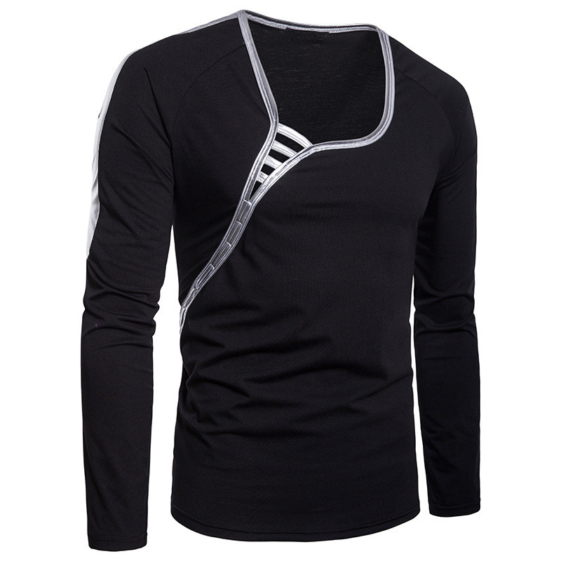 Autumn Stylish Sexy Tshirts Long Sleeve Men Gold Side Patchwork Deep Neck Muscle Bodybuilding Tee Slim Fit Masculina Night Club