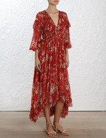 100% шелк женщина платье 2018 сезон: весна–лето красный Цветочный принт рюшами с длинным рукавом глубоким v образным вырезом сексуальность тон