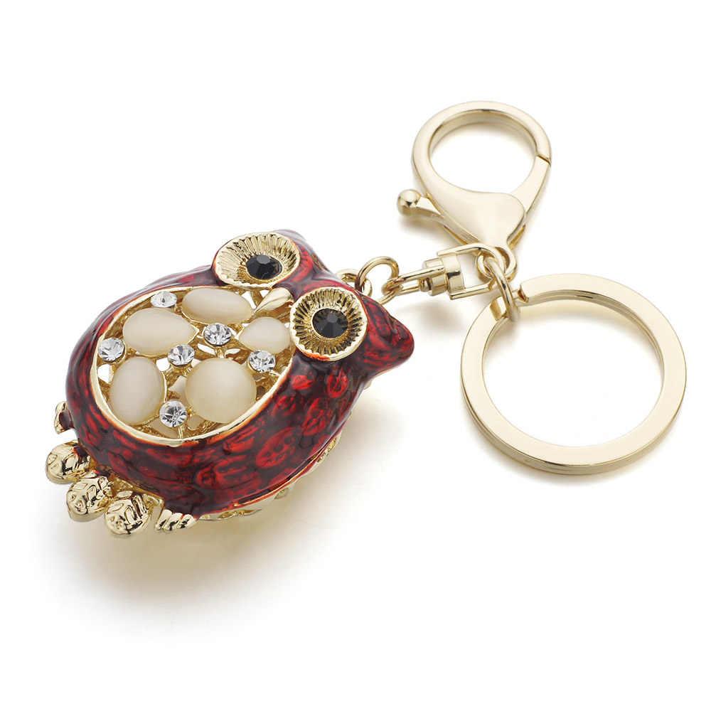 Dalaful милый опал брелок для ключей в форме Совы кольца Металлические Хрустальные животные для автомобильных брелоков Брелоки Подвеска для дамской сумочки для девочек женские K343
