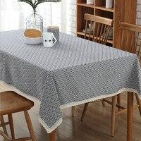 Diamante geometrico tovaglia in cotone e lino tovaglia tavolino panno polvere tovaglia telo di copertura tessuti per la casa forniture