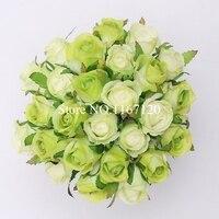 Frete Grátis, Hot sale 26 Cabeças/Grupo Light & dark verde Artificiais de Seda Flores Rosas Posy Casamento Nupcial buquê de Flores 25cmHT37