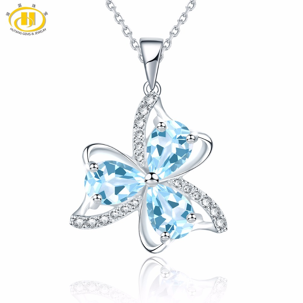 Hutang Natural Sky Blue Topaz Similar Diamond Necklace 925 Sterling Silver Gemstone Necklaces & Pendants Fine Jewelry Women