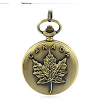 Fashion Casual Silver Quartz Pocket Fob Watches Necklace Pendant Relogio De Bolso Women Watch Canadian Flag